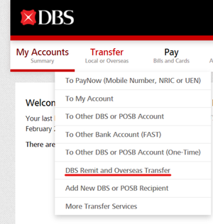 DBS Internet Banking Overseas Money Transfer